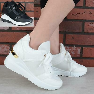 £16.99 • Buy Womens Ladies Lace Up Wedge Platform Trainers Pumps Classic Sneakers Shoes Size
