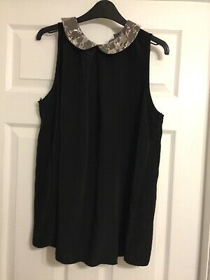 New Look Maternity Black Top Ladies Size 16 Lace Collar • 2£