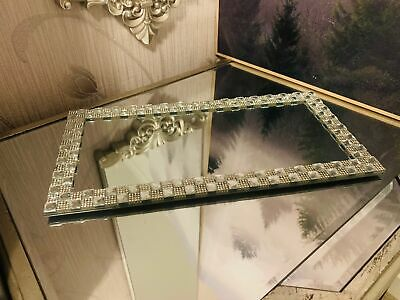 £10.50 • Buy Rectangle Silver Mirror Plate Vanity Perfume Makeup Candle Tray Plate 32 CM