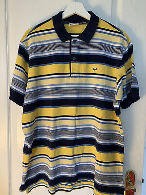 Mens Lacoste Stripe Short Sleeve Polo Top Size 6 Large • 13£