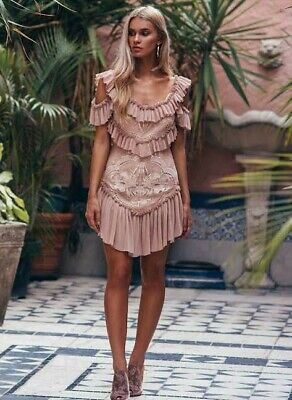 AU150 • Buy Alice McCALL Lovebirds Dress Party Mini Size 6 BNWT Nude/Pink/Shell RRP$490
