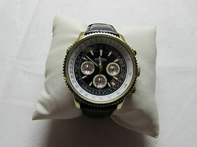 ROTARY Mens Chronograph Watch Black Leather Strap Pilot Style GS03008/04 RF4456 • 49.99£