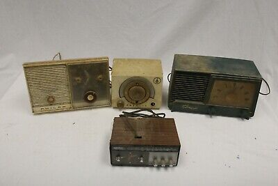 $ CDN48.57 • Buy Lot Of 4 Vintage Radios FOR PARTS ONLY! Emerson, Philco, Longines, Silvertone