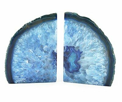 2 X Polished Blue Agate Bookends - Unique  Limited Edition • 33.99£