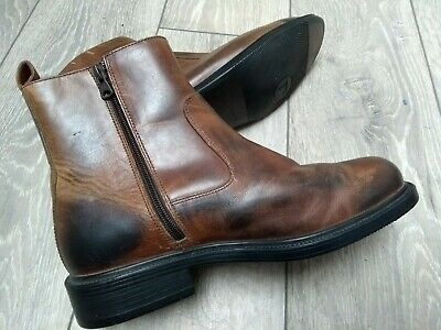 Mens Brown Leather Boots Size 9 M Rockport Chukka Dealer Chelsea Ankle Boots Zip • 34.99£