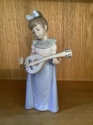 Lladro Nao Porcelain Figurine 1987 , Girl With Lute , Excellent Condition • 19£