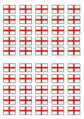 £2.49 • Buy 50 England Flag Theme Edible Cake Toppers-Stand Up/Lie Flat Wafer Decorations