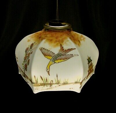 1920-30s Czech Glass Chinoiserie Lamp/Light Shade Signed Krasne With Gallery • 35£