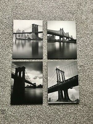 4 X New York Black & White Prints On Wood, Wall Art- From IKEA • 12£