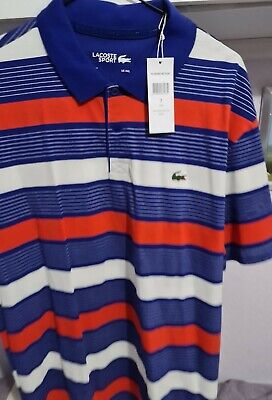 Lacoste Polo Shirt Size 7 Striped New Navy /red/white • 22£