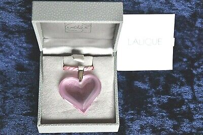 Lalique Large Pink Heart Necklace, Boxed • 45£