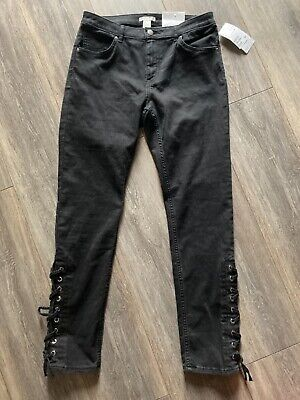 H&M Skinny Jeans Trousers Brushed Black Stretchy Lace Up Ankle Biker 14 16 Next  • 17.99£