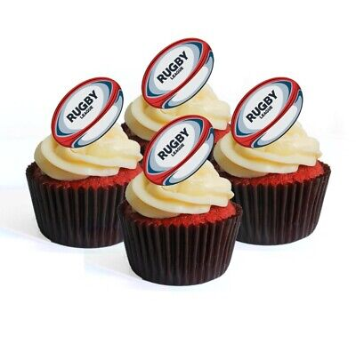 £2.49 • Buy Rugby Balls Theme Edible Cupcake Toppers-Stand Up Wafer Cake Decorations