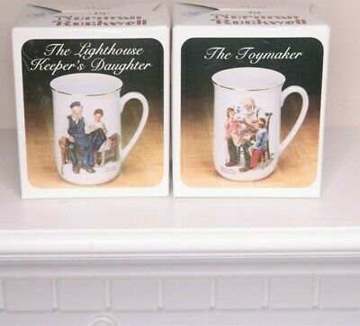 $ CDN50.44 • Buy 2 Vintage Norman Rockwell Museum Collection Coffee Cups Mugs Dated Made In Japan