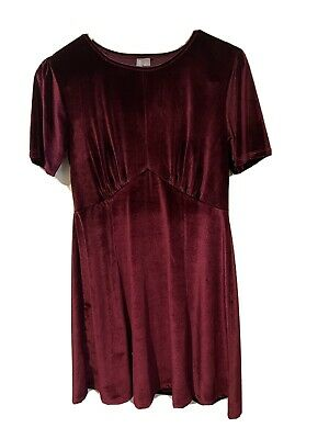AU15 • Buy Asos Burgundy Velvet-look Dress - Size Uk14