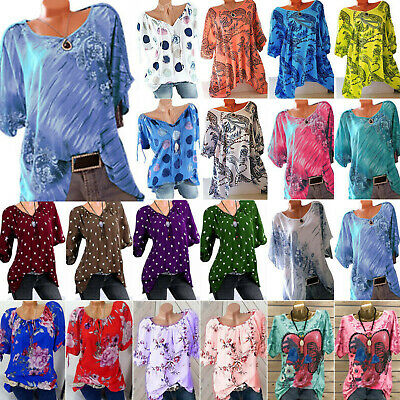 AU15.59 • Buy Women Short Sleeve Floral T-Shirt Summer Loose Casual Holiday Tops Blouse Shirts