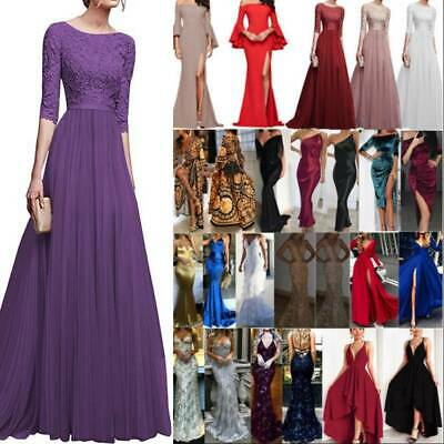 AU32.99 • Buy Womens Wedding Formal Prom Ball Gown Maxi Dress Evening Party Bridesmaid Gown