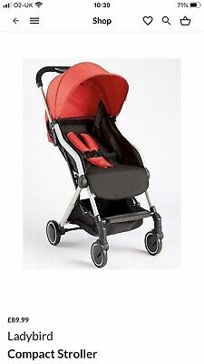 Ladybird Folding Compact Stroller Black Red Nearly New With Rain Cover • 25£