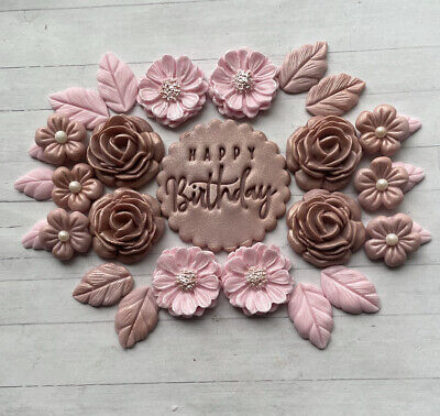 £8.95 • Buy ROSE GOLD & Blush Flowers & Leaves ,fondant Cupcake Toppers,birthday Mothers Day