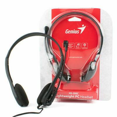 3.5mm Genius HS-200C HEADSET With MICROPHONE For Skype PC Computer Headphones • 9.99£