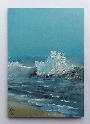 Original ACEO William Jamison Miniature Oil Painting Beach Ocean Waves Ireland • 2.70£