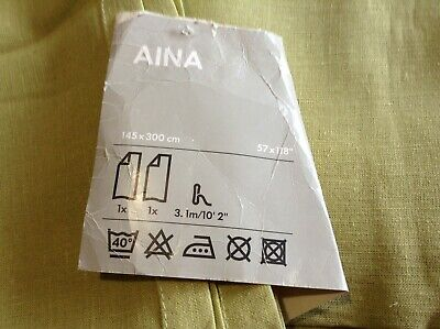 Ikea Linen Aina Chartreuse ( Lime Green) Curtains Pair 145cms X 3 Mtr Unused • 40£
