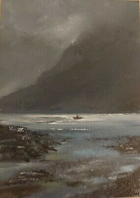Original ACEO William Jamison Miniature Oil Painting Dinghy Boat Sea Ireland  • 26£