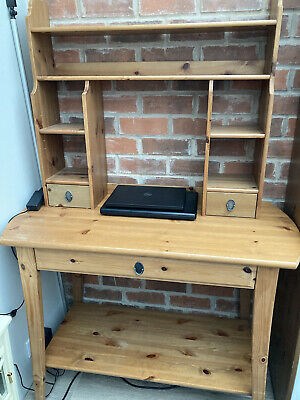 IKEA Leksvik Pine Desk Table With Matching Shelf Top Used In Great Condition • 65£