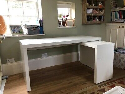 Ikea Malm White Desk With Pull-out Side Piece • 13.70£