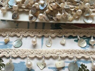 Vintage 70's Lace Fabric Ribbon, Trim, Edging - Mother Of Pearl - By The Metre • 5.99£
