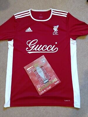 Adidas X Liverpool Football Top T Shirt Jersey Custom UK M & Champions Programme • 30£