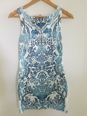 AU19.95 • Buy Forever New Bodycon Blue Paisley Sleeveless Short Dress Size 10 BNWT RRP $119
