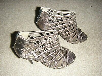 Ladies Gold/Pewter Slim Heeled Shoes Size 4 From New Look • 10£