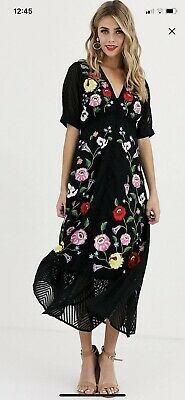 AU31 • Buy Asos Black Dress Embroidered Floral Design Size 6 (Worn Once, As New Condition)
