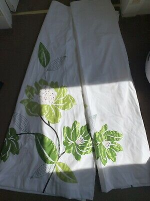 NEXT Lined Tab Top Flower Curtains - Off White & Green • 15£
