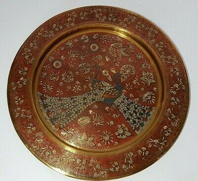 Vintage Indian Style Brass Enamelled Engraved Red Peacock Wall Plate 9.5  • 17.55£