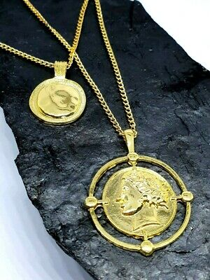 £4.95 • Buy Gold Coin Double Disc Pendant Layered Greece Roman Gold Chain Necklace Jewellery