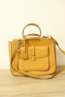 AU114.96 • Buy Authentic Gucci Leather Yellow 2 Way Shoulder Hand Bag #8023