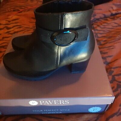 Pavers Heeled Black Ankled Boots Size 5 Used Once • 20£