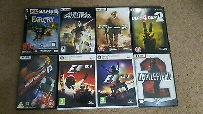 8 PC Games Bundle: Call Of Duty F1 Battlefield 2 Star Wars Battlefront NFS Etc • 1£
