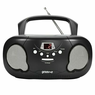 Groov-e Portable CD Player Boombox With AM/FM Radio, 3.5mm AUX Input, Headphone • 29.99£