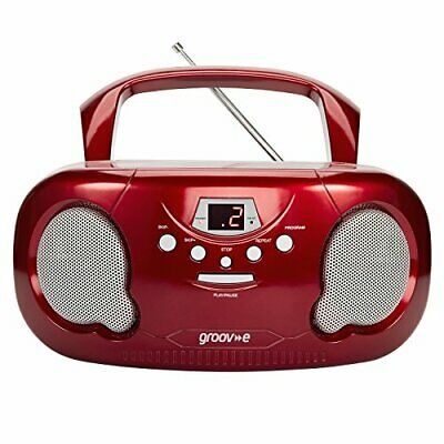 Groov-e Portable CD Player Boombox With AM/FM Radio Led Display Red • 39.99£
