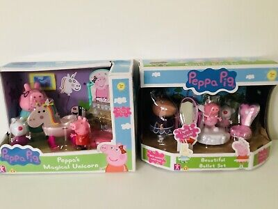 PEPPA PIG Unicorn Royal Playset Ballet Class Princess Fairy Figures Magical Toy • 20£
