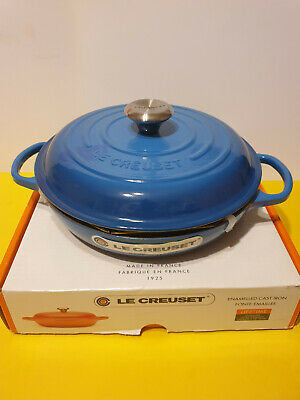Le Creuset Signature Marseille Blue Cast Iron 26cm Shallow Casserole, New Boxed • 190£