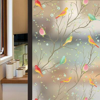 £9.99 • Buy Window Privacy Film Bird Decorative Floral Stained Glass Stickers Static Cling
