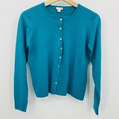 $24.95 • Buy 100% Cashmere Teal Long Sleeve Crew Neck Cardigan Size XL More Like Size M