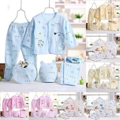$12.69 • Buy 5PCS Newborn Girl Boy Clothes 0 3 Months Baby Outfits Pants Gifts Layette Set