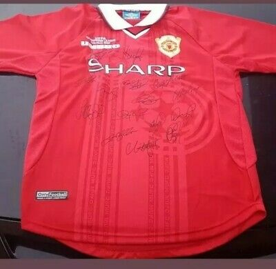 AU175 • Buy Manchester United 1998-1999 Treble  Winners Signed Jersey Coa Champions League