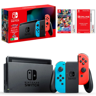 AU420 • Buy Brand New Sealed Nintendo Switch Console Neon & Digital Mario Kart & 3Mth Online
