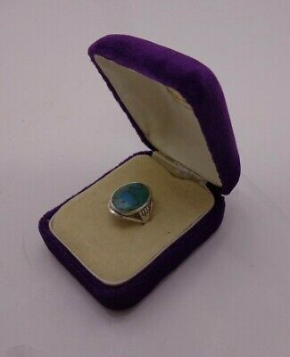 Turquoise Ring Sterling Silver 925 Set Ladies Dress Ring Size M Gift Boxed (#7) • 5£